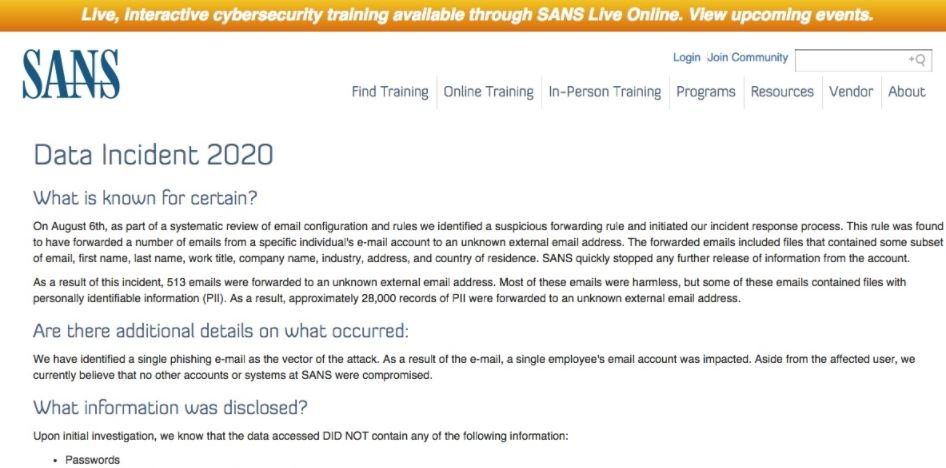 SANS training company was hacked via a simple phishing email