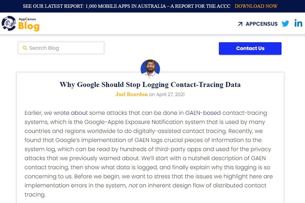 Google exposes sensitive data by the wrong implementation of COVID-19-exposure tracking system
