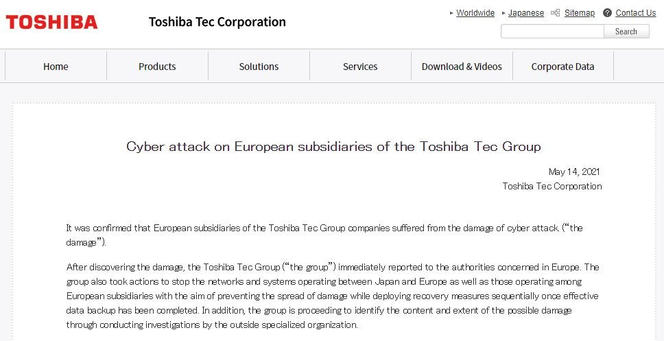 Ransomware hackers attack Toshiba systems; thousands of confidential records leaked
