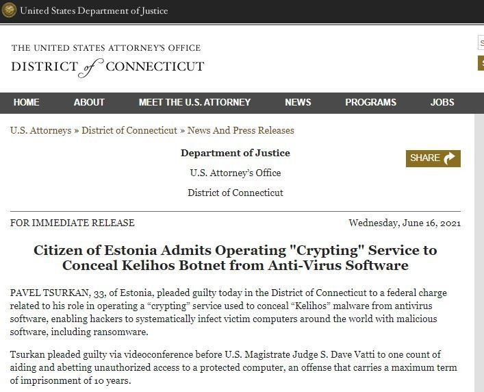 Over 15 years in prison for the operator of the malware employed by the Kelihos botnet
