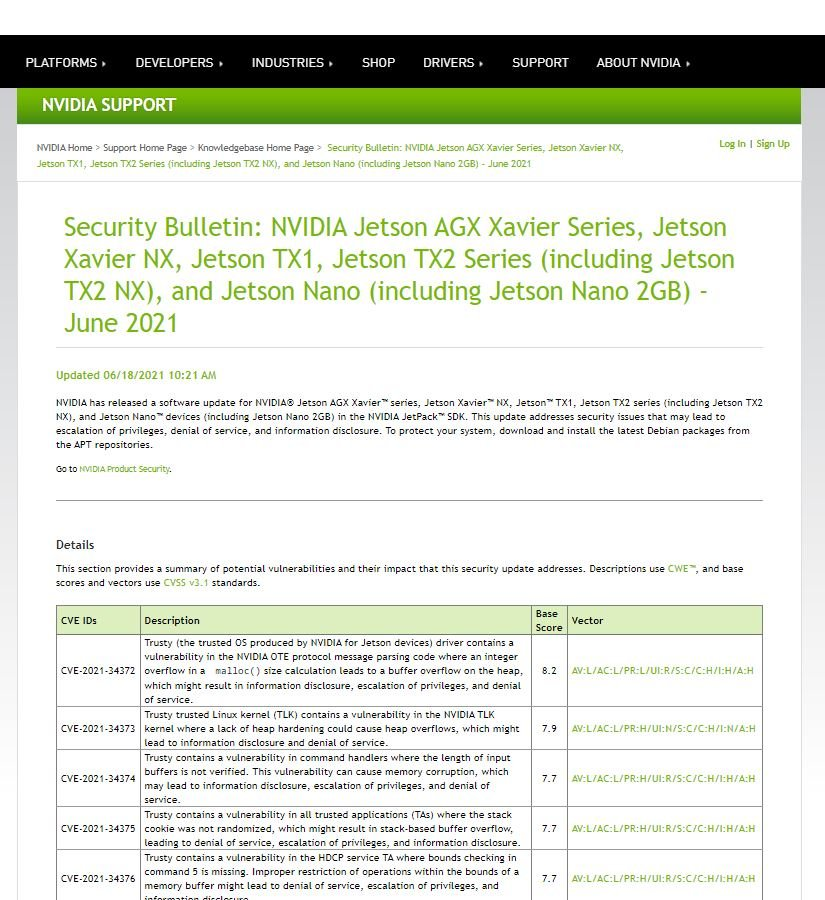 NVIDIA's Jetson Chips critical vulnerabilities allows Dos attack on millions of embedded IoT systems