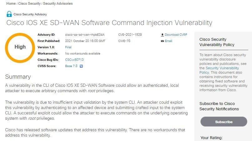 CVE-2021-1529: Critical vulnerability in Cisco SD-WAN. Update ASAP