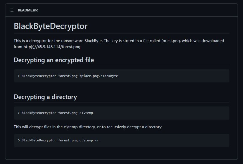 Decrypt BlackByte ransomware file for free now